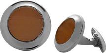 Men's Steel & Brown Cat Eye Cuff Links