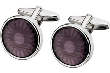 Men's Steel & Purple Cat Eye Cuff Links