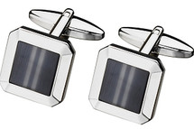 Men's Steel & Grey Cat Eye Cuff Links
