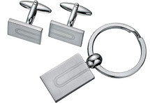 Men's Rectangular Steel Cufflinks & key Chain Set