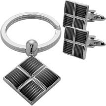 Men's Steel Cufflinks & Key Chain Set