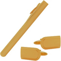 Men's Gold Plated Steel Cufflinks & Tie Pin  Set