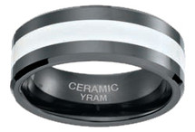 Black Ceramic with White Inlay 8mm Ring