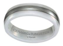 White Ceramic & Tungsten 6mm Single Line Ring