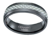 Black Ceramic Carbon Fiber 7mm Ring