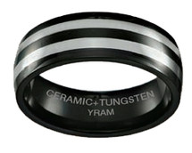 Black Ceramic with Tungsten 8mm Half Dome Ring