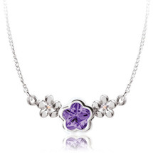 Sterling Silver Created Amethyst BFlower Necklace for Children