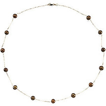 14 Karat Yellow Gold Dyed Chocolate Pearl Necklace