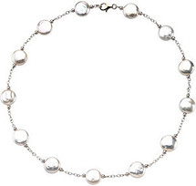 Sterling Silver White Coin Pearl Necklace