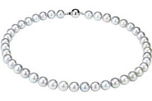 Classic 18 Inch Grey Pearl Sterling Silver Necklace