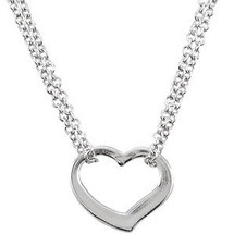 16 Inch Sterling Silver Floating Heart Necklace
