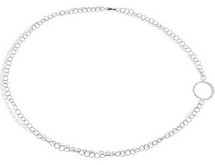 44 Inch Polished Sterling Silver Circle Necklace