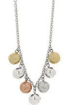 Stainless Steel Three Tone Glitter Ball Necklace