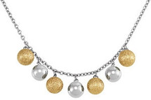 Stainless Steel Gold Plater Glitter Ball Necklace
