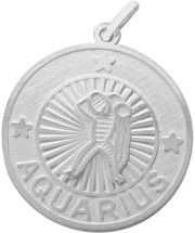 Sterling Silver Aquarius Zodiac Pendant with Chain, 1 Inch
