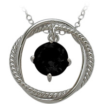 Ladies Sterling Silver Free Moving Onyx Pendant