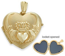Ladies Yellow Gold Heart Celtic Claddagh Pendant Locket