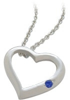 Sterling Silver Sapphire Heart Pendant