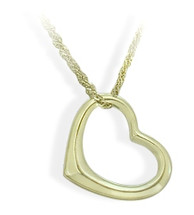 Ladies Designer Yellow Gold Floating Heart Pendant