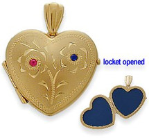 Yellow Gold Ruby & Sapphire Heart Locket with Design