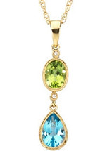 14 Karat Yellow Gold Multicolor Gemstone & Diamond Pendant