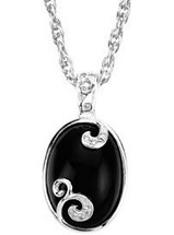 Sterling Silver Onyx & Diamond Pendant