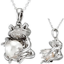 Sterling Silver Frog Holding White Pearl Pendant