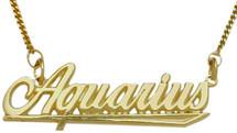 "10K Yellow Gold Aquarius Script Zodiac Pendant Jan 21-Feb 19 with 16"" chain"