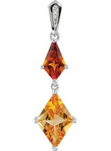 Sterling Silver Citrine & Diamond Pendant