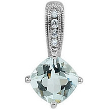 14 Karat White Gold Aquamarine & Diamond Pendant