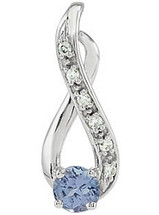 14 Karat White Gold Tanzanite & Diamond Pendant