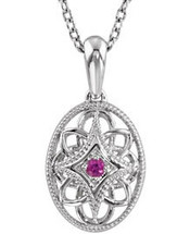 Sterling Silver Oval Ruby Pendant