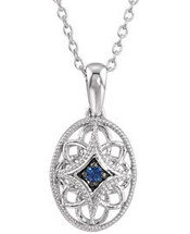 Sterling Silver Oval Sapphire Pendant