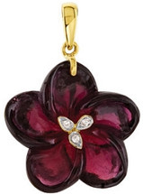 14 Karat Yellow Gold Gold Garnet & Diamond Floral Pendant