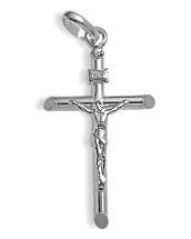 Large White Gold Religious Crucifix