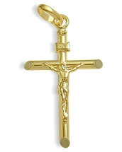 Large Religious 14 Karat Yellow Gold Crucifix