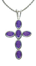 Sterling Silver Amethyst Oval Cross