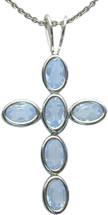 Sterling Silver Created Aquamarine Oval Cross