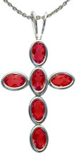 Sterling Silver Created Ruby Oval Cross