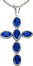 Sterling Silver Created Sapphire Oval Cross