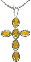 Sterling Silver Citrine Oval Cross