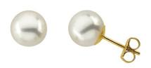 Ladies 6mm Cultured Pearl 14k Gold Earrings