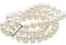 Sterling Silver 3 Strand White Pearl Bracelet