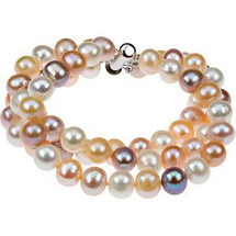 Sterling Silver 3 Strand Multi Color Pearl Bracelet