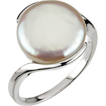 Sterling Silver White Coin Pearl Ring