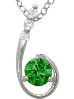 Sterling Silver Created Emerald Pendant