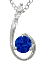 Sterling Silver Created Sapphire Pendant