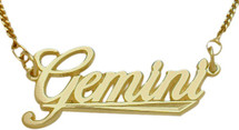 "10K Yellow Gold Gemini Script Zodiac Pendant May 22 - June 22 with 16"" chain"