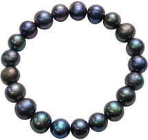 9-10mm Black Freshwater Pearl Stretch Bracelet