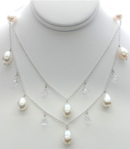 Sterling Silver White Pearl & White Sapphire Necklace